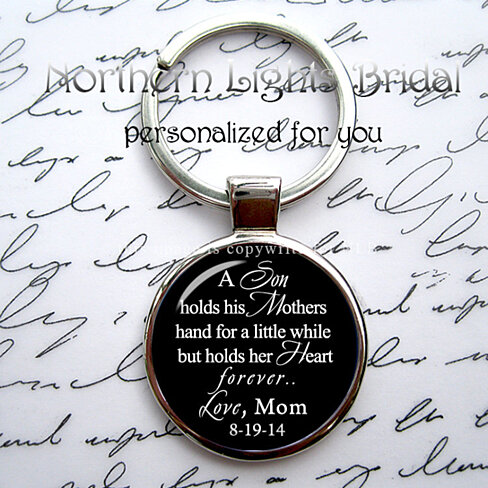 personalized son key chain groom wedding gift mom gift for son gift