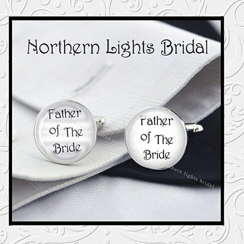 of the Bride Silver Cuff Links Father Wedding Gift for Dad Bridal ...