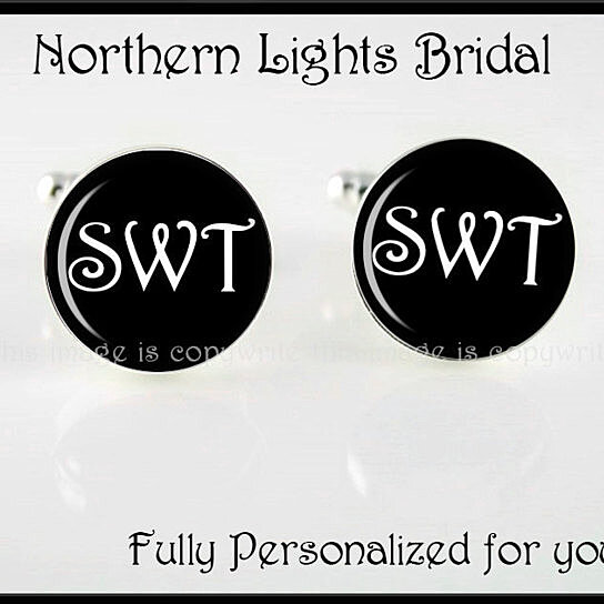 Wedding Gift From Groomsmen: Buy Intiallized Black Silver Cuff Links Groom Gift