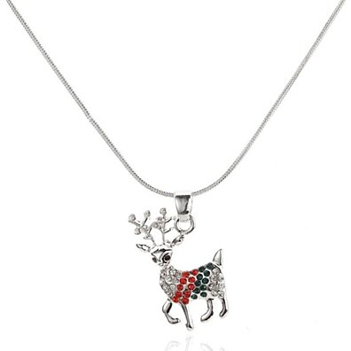 Swarovski Elements Womens Reindeer Pendant Necklace