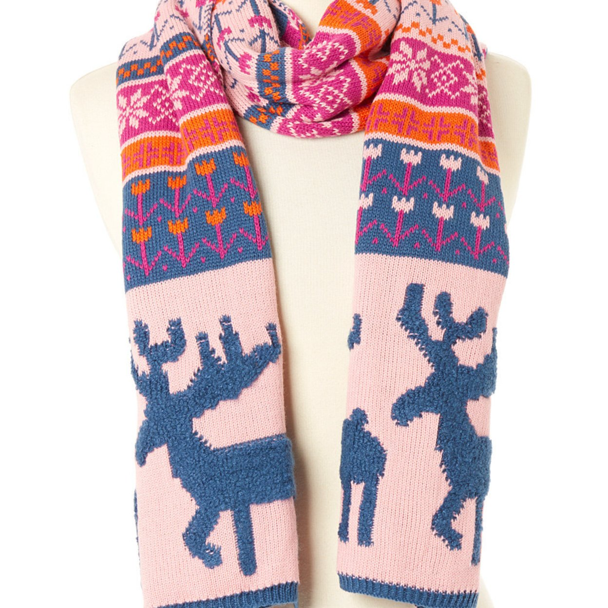 Woodland Reindeer Knit Scarves (teal Pink)