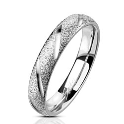 Deep Diagonal Cuts Sand Blasted Sparkle Finish Dome Band Stainless Steel Ring