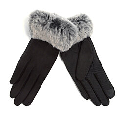 Women's Faux-Fur Cuff Touch-Screen Gloves with Non-Slip Grip