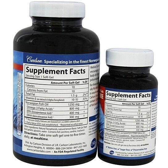 Buy carlson labs elite omega 3 gems fish oil 1250 mg 120 for Carlson labs fish oil