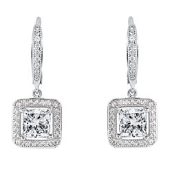 18K White Gold Plated Princess Cut Earrings with Swarovski Elements
