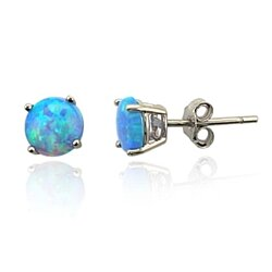 2.00 CTW Genuine Blue Opal Stud Earrings in Sterling Silver
