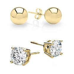 2 Piece Stud Earrings with Swarovski Elements - 3 Colors