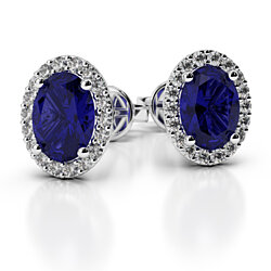 5 CTTW sterling silver oval cut halo sapphire stud earrings