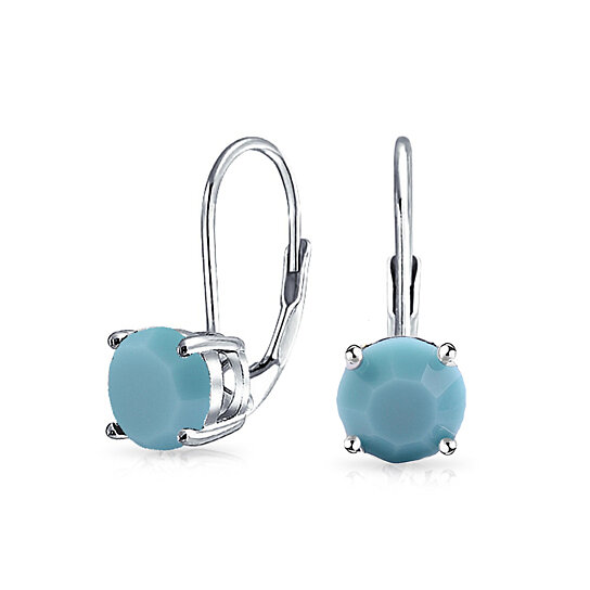 Turquoise Leverback Earrings In Sterling Silver By Nyc On Opensky