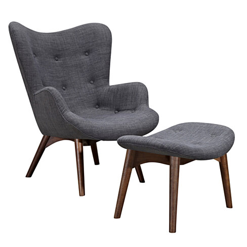 Charcoal Gray Aiden Chair-Walnut