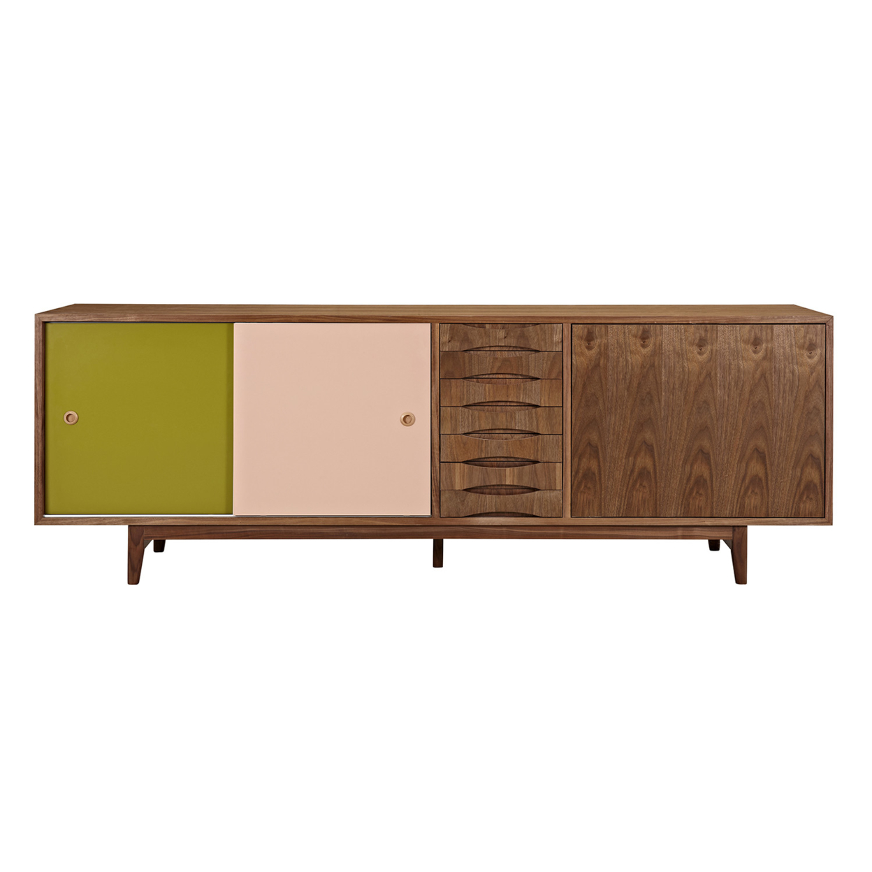 Green and Peach Alma Sideboard- Walnut