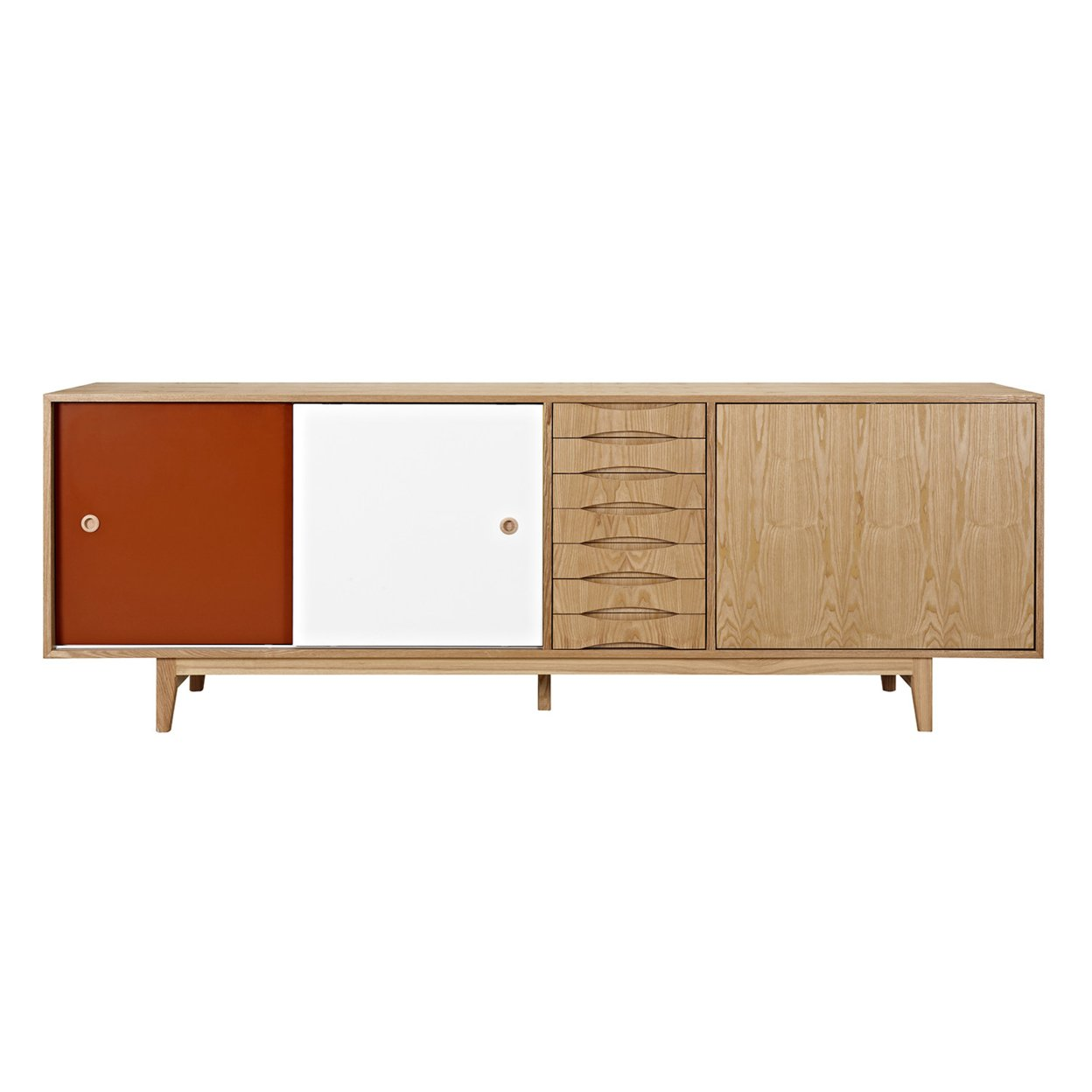 Red and White Alma Sideboard- Natural