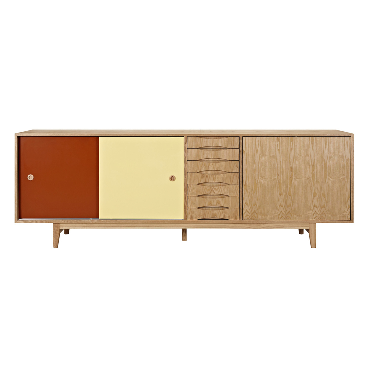 Red and Yellow Alma Sideboard- Natural