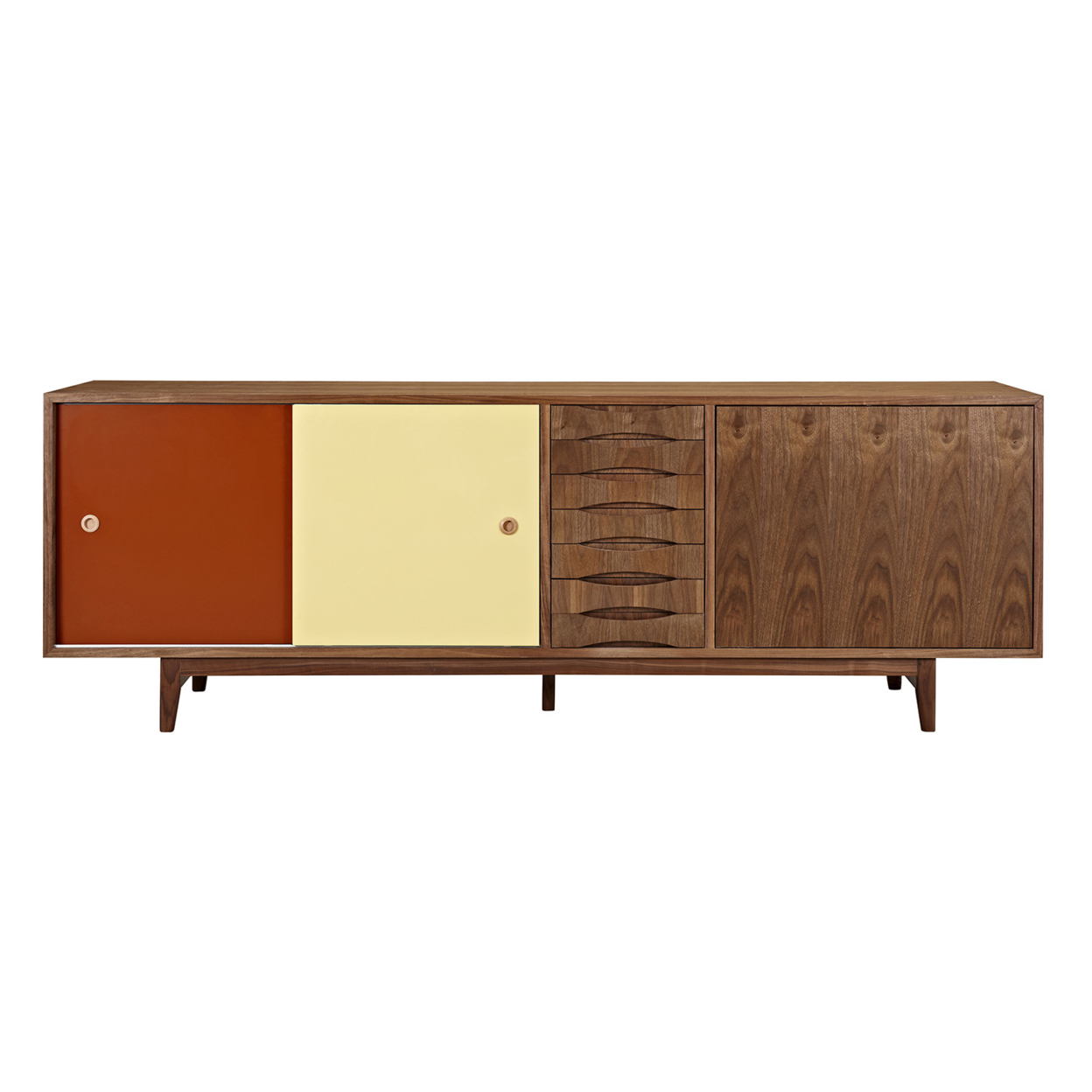 Red and Yellow Alma Sideboard- Walnut