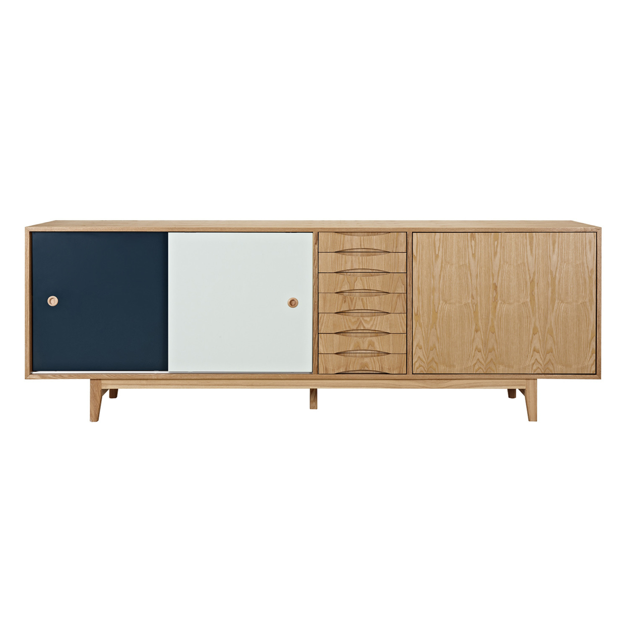 Teal and Mint Alma Sideboard- Natural