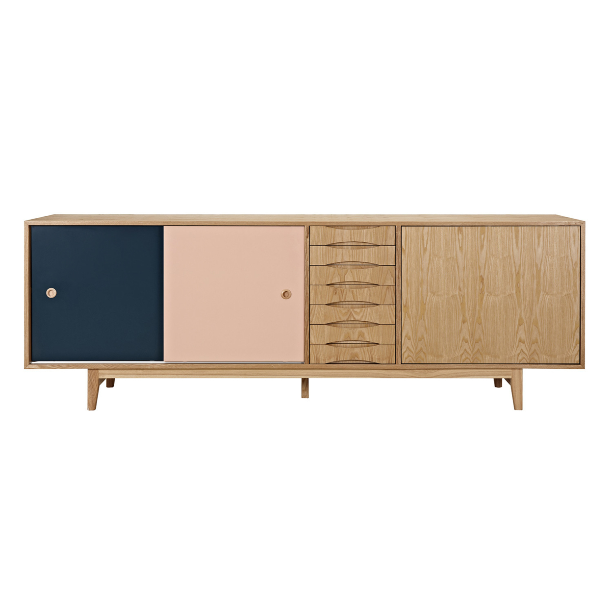 Teal and Peach Alma Sideboard- Natural