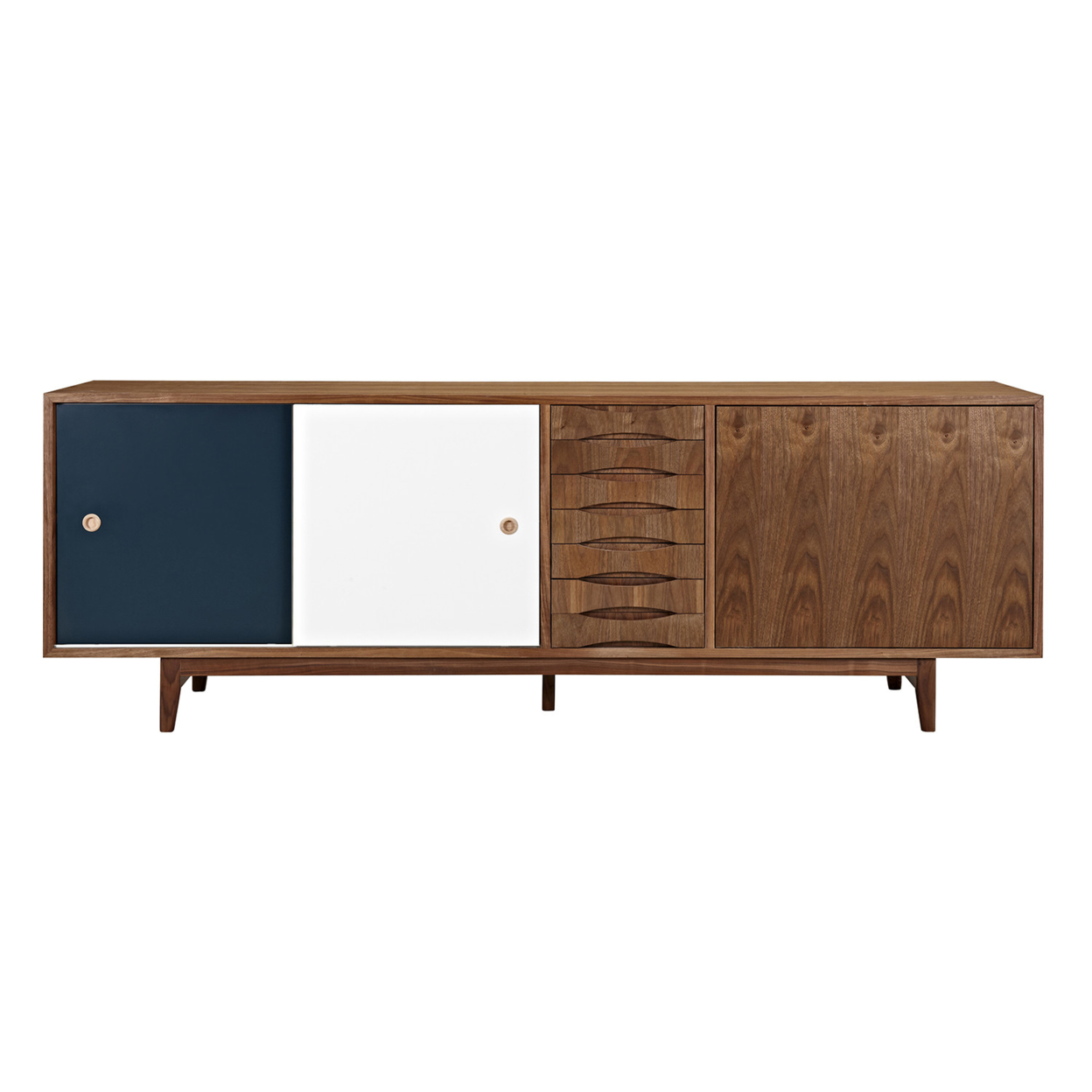 Teal and White Alma Sideboard- Walnut