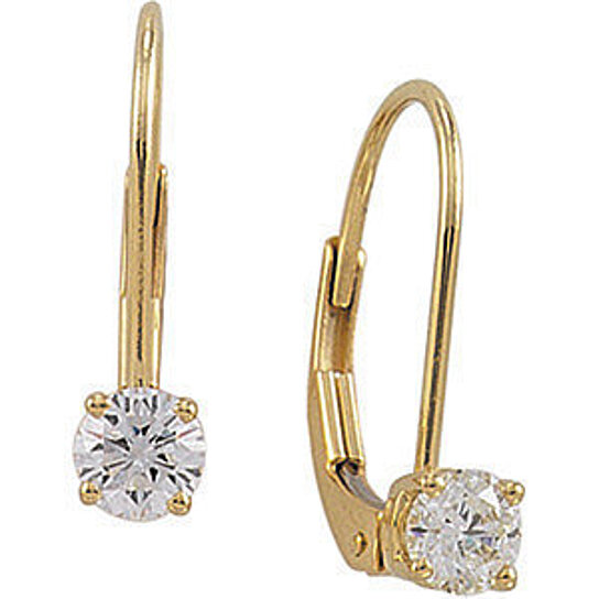 14kt Yellow Gold 1 4 Ct Diamond Solitaire Lever Back Drop Earrings By Nyjewelz On Opensky