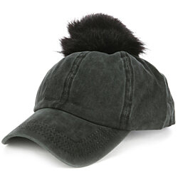 FAUX FUR POM POM BASEBALL HAT AND CAP
