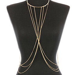 LAYERED METAL CHOKER NECKLACE AND  BODY CHAIN