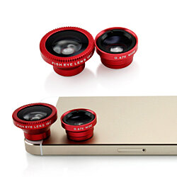 Red 8in1 Clip-On Fisheye + Macro Camera Lens for iPhone