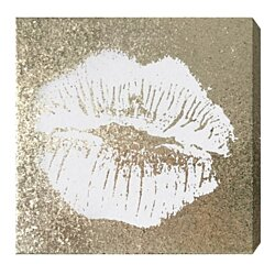 'Simple Kiss Champagne' Gold Glitter Art on Canvas
