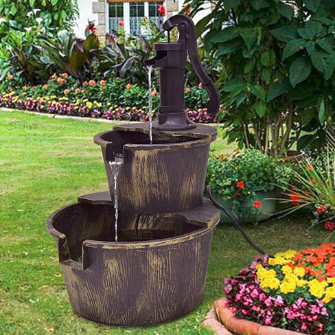 2 Tier Barrel Waterfall Fountain Barrel Water Fountain Pump Outdoor Garden