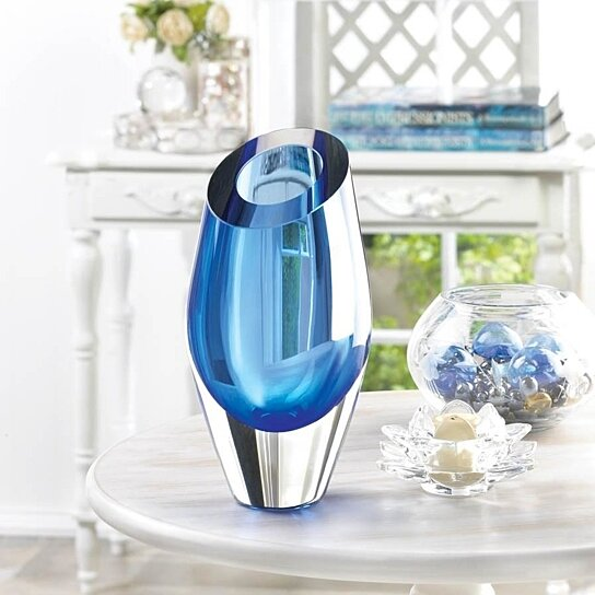 Buy BEAUTIFUL BLUE CUT GLASS ART VASE SCULPTURE LIVING