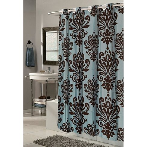 Buy Blue Brown Traditional Damask Print Hookless Fabric Shower Curtain By Opensky Collectibles