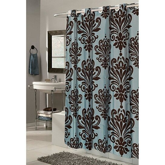 buy blue brown traditional damask print hookless fabric shower curtain by opensky collectibles. Black Bedroom Furniture Sets. Home Design Ideas