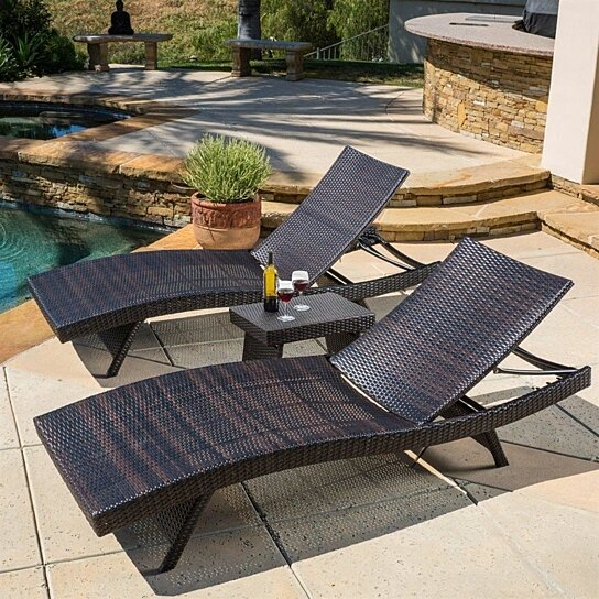 Buy Brown Resin Wicker 3 Piece Chaise Sun Lounge Chair Side Table Set Outdoor