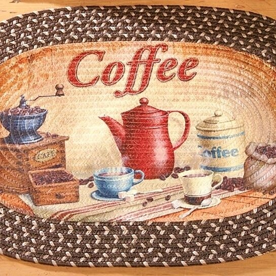 Buy Coffee Themed Braided Accent Rug Old Fashioned Center