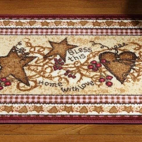 Country Hearts Stars Berries Decorative Accent Rug Burgundy Border