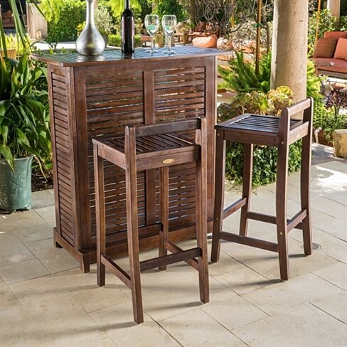 Buy Gorgeous Tropical Tiki Wood 3 Piece Outdoor Bar Set Pool Patio Deck Furniture By Opensky