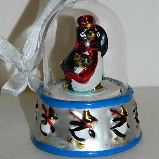 Buy Mr Christmas PENGUIN Music Box Ornament Glass Globe