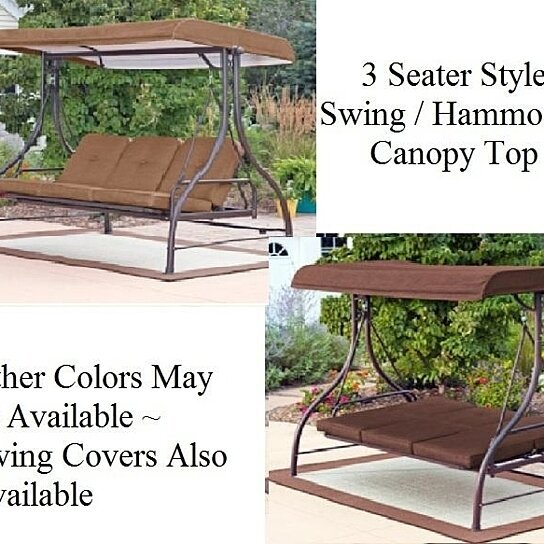 Buy Outdoor 3 Triple Seater Hammock Swing Glider Canopy Patio Deck Brown By Opensky Collectibles
