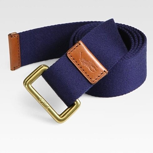 Buy Polo Ralph Lauren Mens Navy Blue Canvas Leather Brown