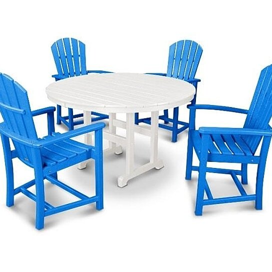 Buy polywood palm coast 5 pc dining set pacific blue for Great deals on outdoor furniture