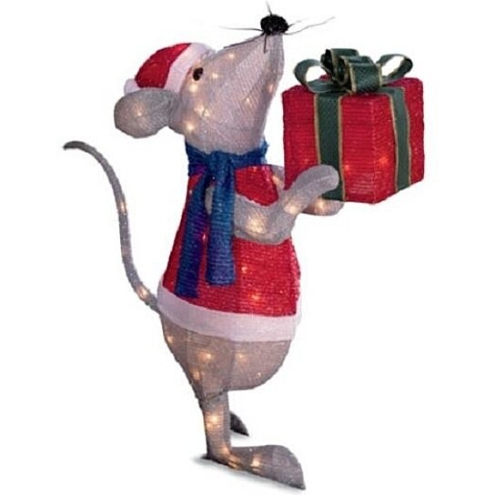 Buy sale 26 outdoor lighted pre lit mouse with gift for Outdoor christmas lawn decorations sale