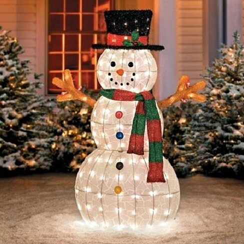 buy sale 48 outdoor lighted pre lit snowman sculpture. Black Bedroom Furniture Sets. Home Design Ideas