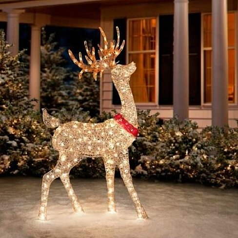 outdoor lighted pre lit golden buck reindeer christmas yard art decor. Black Bedroom Furniture Sets. Home Design Ideas