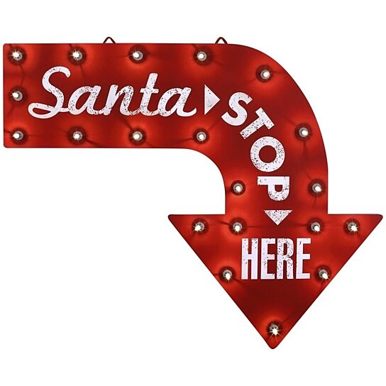 Christmas Arrow Signs.Santa Stop Here Christmas Sign Led Lighted Arrow Gemmy Indoor Outdoor New
