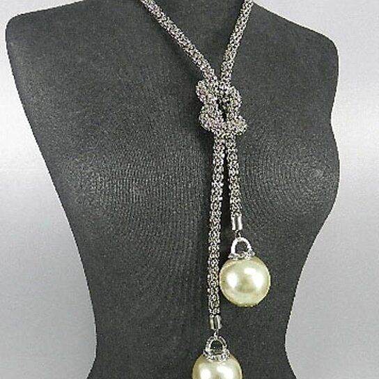 Buy Silver Tone Snake Link Deco Knot Big Cream Faux Pearl