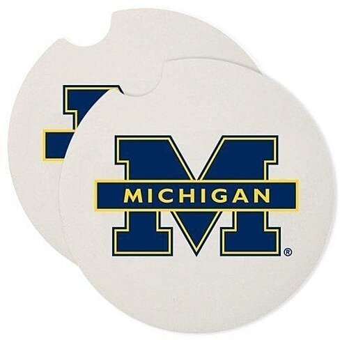 Buy university of michigan wolverines absorbent stone car coaster coasters set of 2 by opensky - Stone absorbent coasters ...
