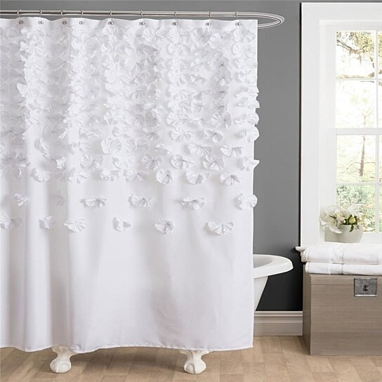 Ordinaire Buy White Modern Textured Elegant Raised Floral Fabric Shower Curtain  Bathroom By OpenSky Collectibles On OpenSky