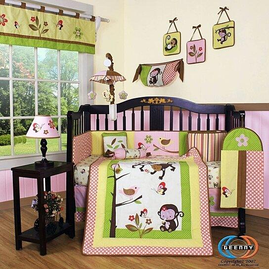 13PCS Monkey Baby Nursery Crib Bedding Set