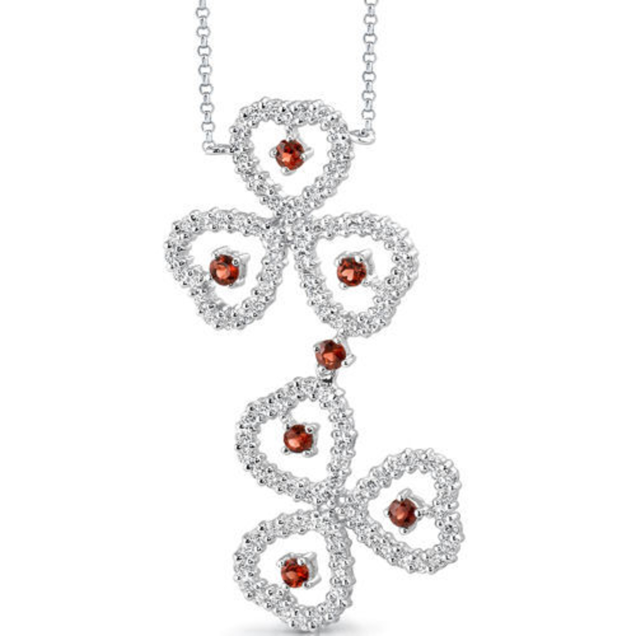 1.00 Carat Round Shape Garnet & White Cz Necklace In Sterling Silver Style Sv1534