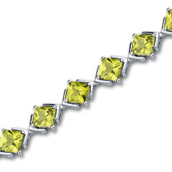11.25 carats Princess Cut Peridot Gemstone Bracelet in Sterling Silver Style SB3000