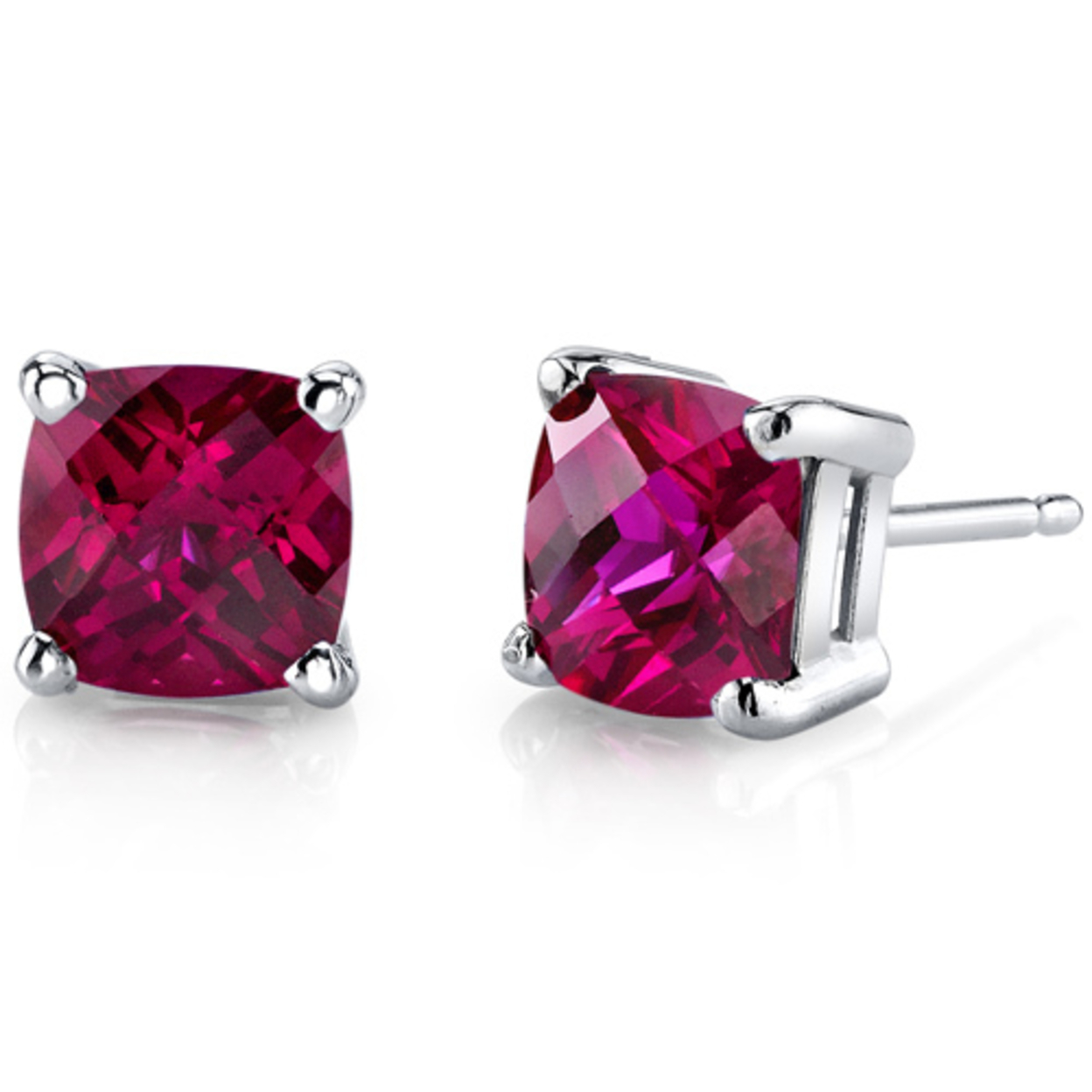 14 Karat White Gold Cushion Cut 2.50 Carats Created Ruby Stud Earrings