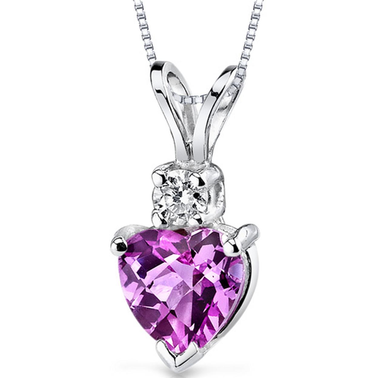 14 Karat White Gold Heart Shape 1.00 Carats Created Pink Sapphire Diamond Pendant